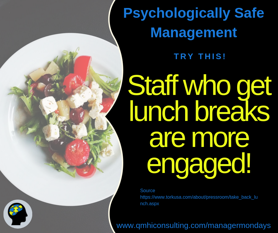 According to a Tork Survey, 81% of employees who take a lunch break daily are more likely to be engaged and active employees.